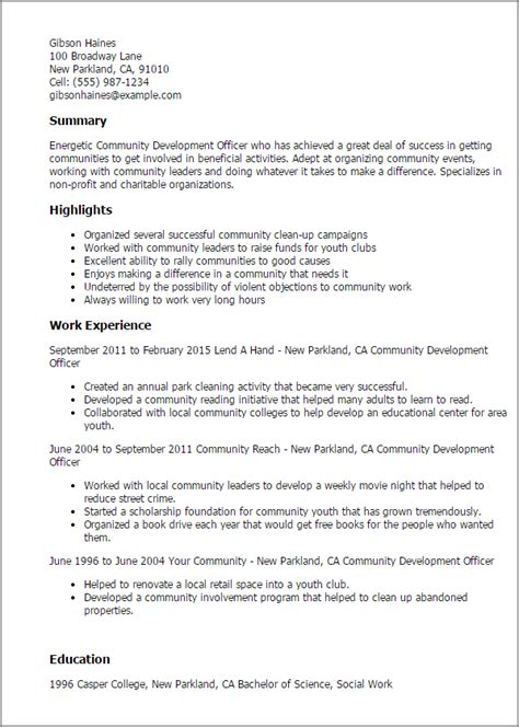 Community Service Resume Template by Professional Community Development Officer Templates To