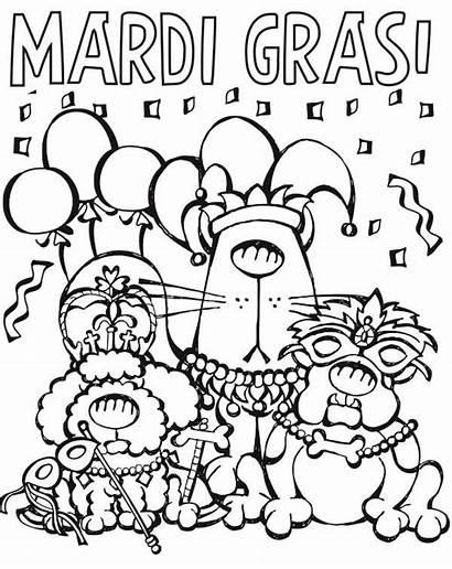 Mardi Gras Coloring Pages Cartoon Printable Parade