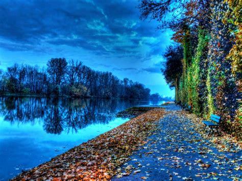riverside bench  autumn nature hd wallpaper