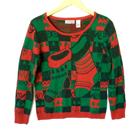 igly sweater green checkerboard sweater