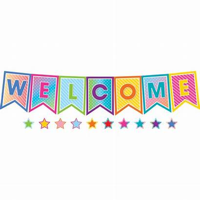 Welcome Bulletin Board Colorful Display Vibes Pennants