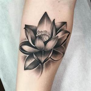 Flower Tattoo : Black And Grey Tattoo Of Flower Lotus ...