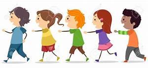 Children in a line clipart