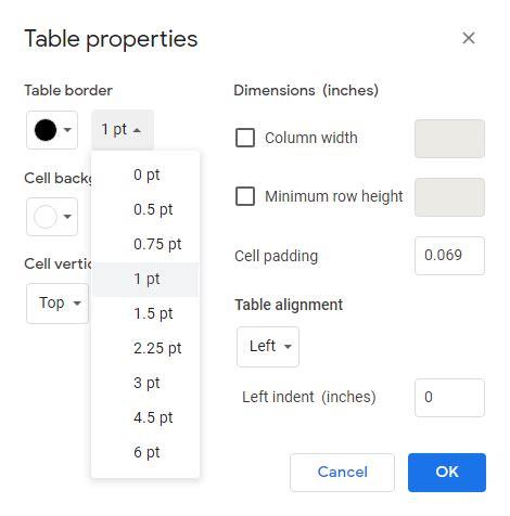 Cómo eliminar los bordes de las tablas en Google Docs