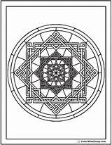 Coloring Geometric Pages Complex Circles Circle Pattern Square Designs Circular Oriental sketch template