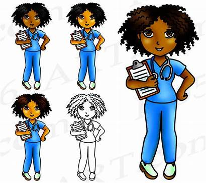 Nurse Clipart Clip African American Stickers Planner