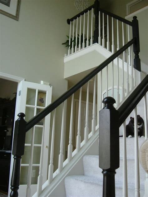 banister railings painted the yellowy oak staircase banister around my
