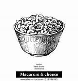 Cheese Macaroni Vector Sketch Homemade Hand Drawn Bowl Shutterstock Background Illustration Pan Object Isolated Menu sketch template
