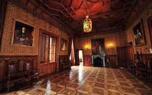 Interior, Room, Indoors, Painting, Wooden, Surface, Ancient, Door, Chandeliers, Castle, Crimea