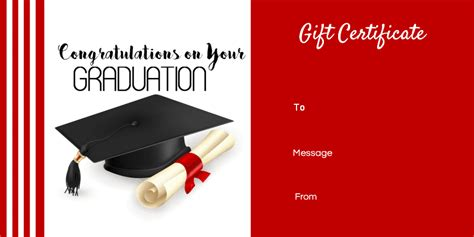 graduation card templates graduation gift certificate template free customizable