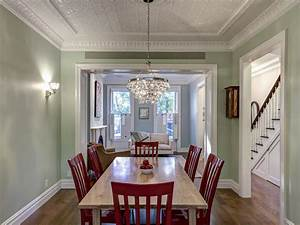 Light, Green, Traditional, Dining, Room, With, Bold, Red, Chairs