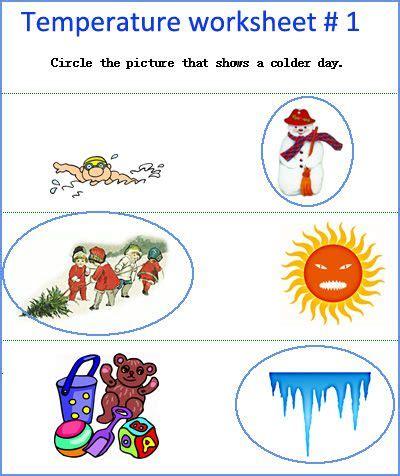 temperature worksheets kindergarten measurement