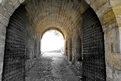 picture doorway fortress gateway medieval tunnel