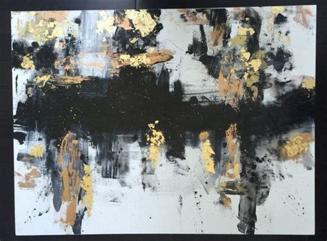abstract black gold  white large acrylic