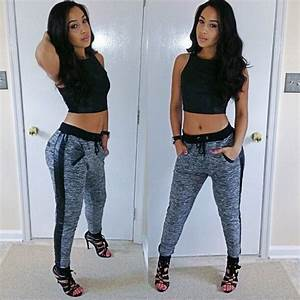 Crop top fitted jogger pants | cute outfits! | Pinterest | Joggers Pants and Crop tops