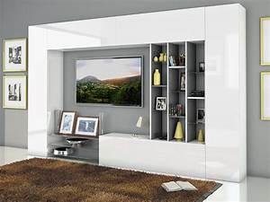 Meuble De Tele Design : ensemble de meuble tv laqu blanc brillant et effet blanc marbr design pompei ~ Teatrodelosmanantiales.com Idées de Décoration
