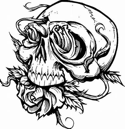 Skull Coloring Roses Pages Scary Creepy Printable