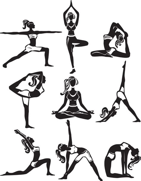Are you searching for yoga png images or vector? Different yoga girl silhouette vector free download