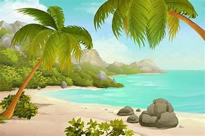 Tropical Palms Clipart Creativemarket Landscape Creative Beaches