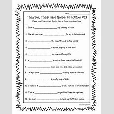Homophones  There, They're And Their Practice Worksheet #2 By 4 Little Baers