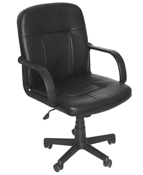 padded black faux leather office desk chair modern swivel