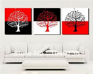 Free shipping piece canvas wall art black and red