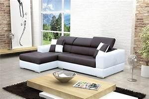 Canapé D Angle Cuir Blanc : canap design d 39 angle madrid iv cuir pu noir et blanc ~ Melissatoandfro.com Idées de Décoration