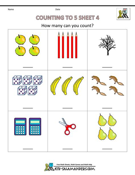 Preschool Counting Worksheets - Counting to 5