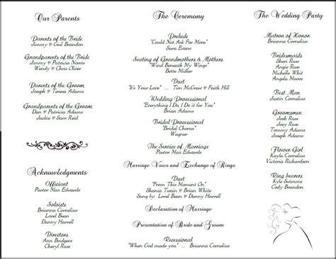 exle of wedding programs wedding program back side tea length tri fold wedding program
