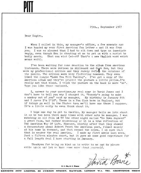 david bowies letter  sandra adams