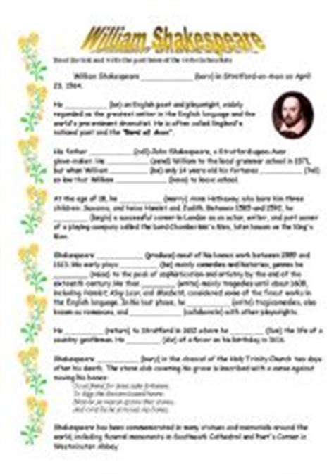 william shakespeare worksheets