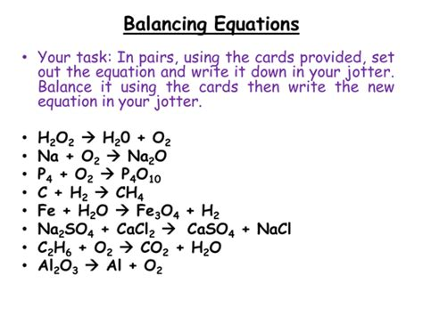 Chemistry  Balancing Chemical Equations By Jamjar87