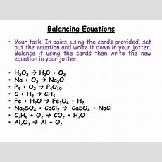 Chemistry  Balancing Chemical Equations By Jamjar87  Teaching Resources