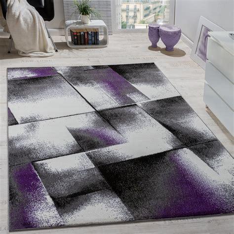 designer teppich wohnzimmer teppiche kurzflor meliert lila grau schwarz creme alle teppiche