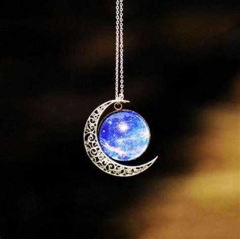 triple moon goddess necklace opal moonstone opalite crescent moon silver