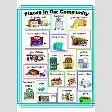 Community Places Vocabulary  Esl Worksheet By Ehelland33