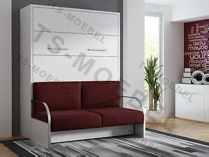schrankbett mit integriertem sofa schrankbett wandbett klappbett mit sofa wbs 1 trend 160x200 cm holz weiss ebay
