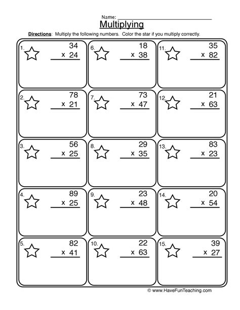 multiplication 2 digit worksheet 1