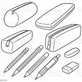Pencil Case Vector Cartoon Container Illustration sketch template