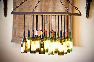 Custom wine bottle chandelier by by gordon living for Custom made wine bottles
