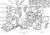 Spongebob Coloring Bikini Bottom Cartoon Cast Squarepants Characters Residents sketch template