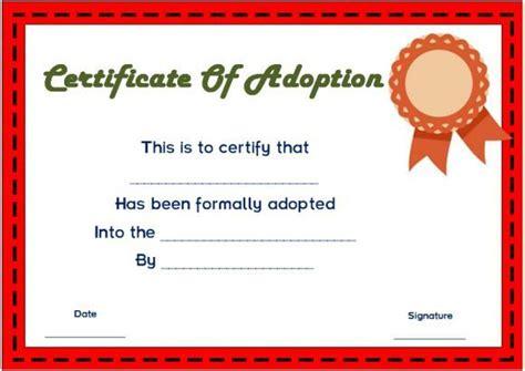 blank adoption certificate templates