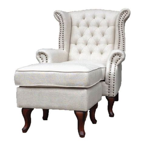 linen wing back chair with free ottoman linen