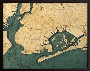 Great Straits Chart Brooklyn Nautical Topographic Art Bathymetric Wood Chart