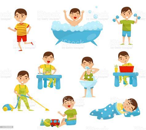 ilustracion de rutina diaria del chico lindo sistema