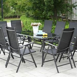 Salon De Jardin Aluminium 10 Personnes : table de jardin 10 personnes 10 chaises en aluminium ~ Dailycaller-alerts.com Idées de Décoration
