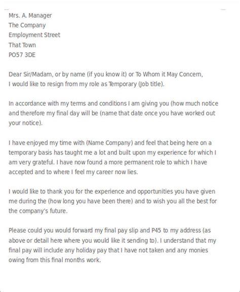 sample temporary resignation letter templates