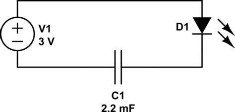 Batteries Inserting Capacitor Into Circuit Causes Led