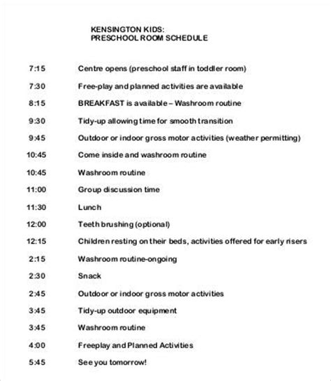 preschool schedule template 7 free word pdf documents 498 | Preschool Room Daily Schedule Template