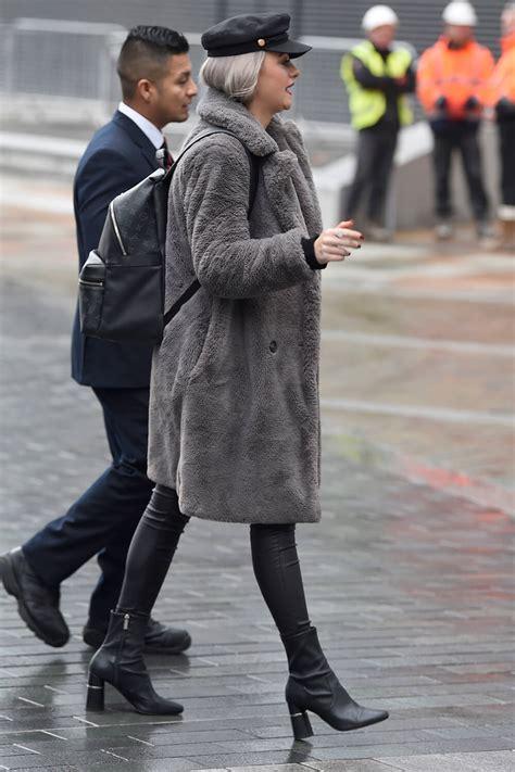 katie mcglynn arrives  bbc breakfast studios leather